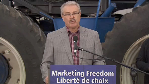 Minister Ritz Celebrating the Passing into Law of the Marketing Freedom for Grain Farmers Act