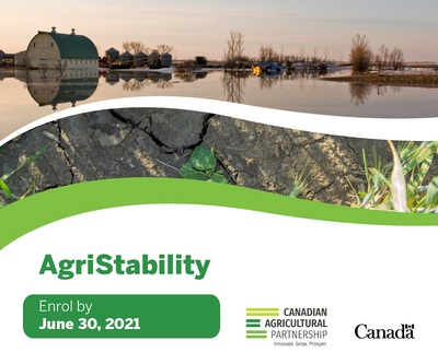 Agristability. Enrol by June 2021. Canadian Agricultural Partnership. Innovate. Grow. Prosper