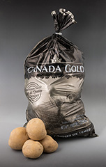 A shiny 5lb bag of potatoes featuring the label Canada Gold.