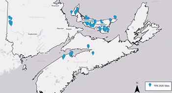 A map of PEI, New Brunswick and Nova Scotia including participating farms indicated by blue location markers.